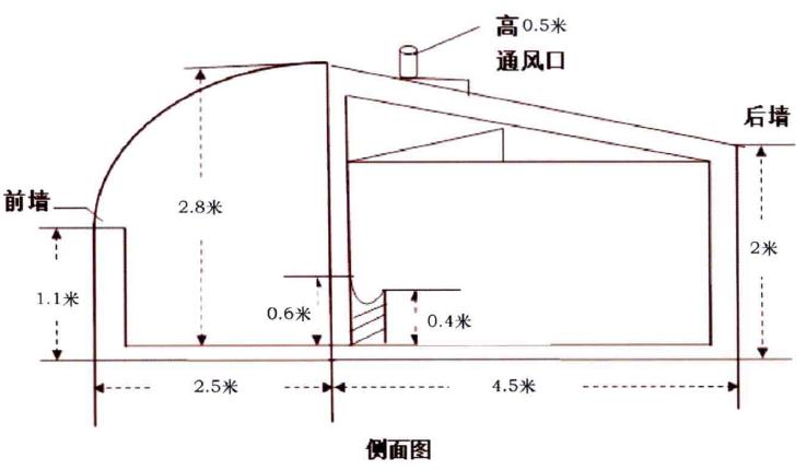 图3-2单列半开放式人工饲喂牛舍侧面示意图