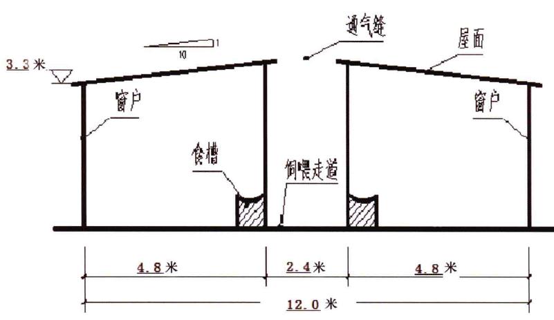 双列半封闭式牛舍侧面示意图